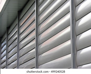 Metallic  window shutter at the  office building, innovation technique