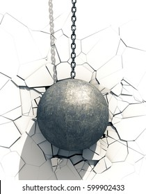Metallic Wrecking Ball Shattering White Wall. 3D Illustration.