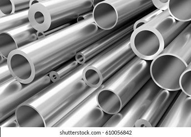 Metallurgical industry production and industrial products abstract illustration - many different various sized stainless metal shiny steel pipes, industrial background, 3D illustration.