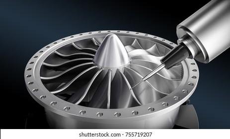 Metalworking CNC milling machine, 3d illustration