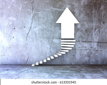 metaphor for business or growth as a steps and arrowon concrete background