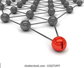 Metaphor of communication. Red leader in front. Concept 3D illustration.