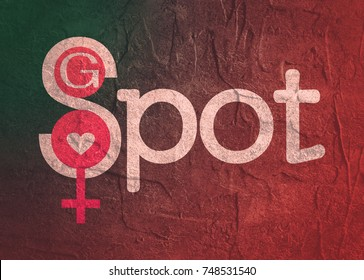Metaphor of exploring female sexuality. Spot-g erogenous zone emblem. Grunge concrete texture