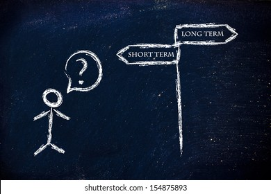 metaphor humour design on blackboard, short vs long term