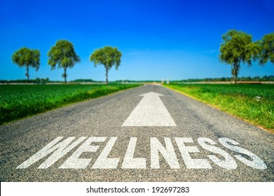 metaphor illustrating on the road the wellness and good health