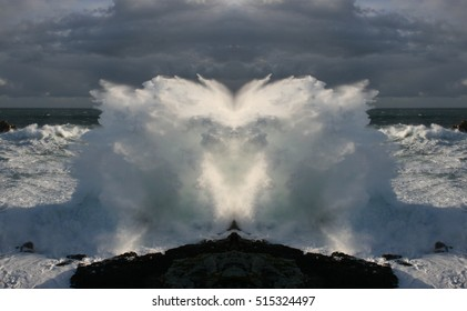 metaphor of metamorphosis, waves like butterflies,symmetrical photography of Giant waves breaking on the cliffs of the coast, Galicia,Spain,visual allegories, visual metaphors, photographic allegorie,