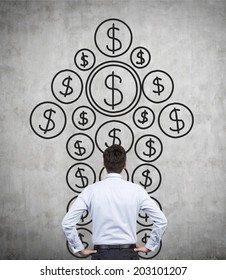 A metaphor of private equity investments. A businessman thinking about investment opportunities in front of a wall with the dollar arrow sketch.