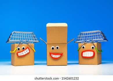 Metaphor - satisfied customers. Joy of shopping. Concept - happiness from the purchase. Shopping in the internet store. Online auction. Emoji box with shopping baskets on the head.  Joyfulness