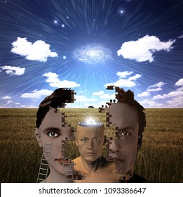 Metaphoric composition. Man and woman head as a puzzle. 3D rendering