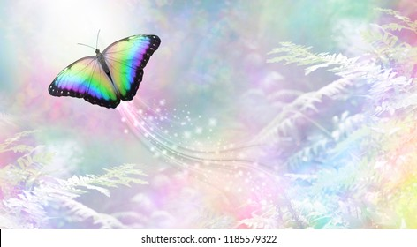 Metaphorical butterfly Into The Light departing soul - a rainbow coloured butterfly heading towards white light leaving a trail of sparkles against a rainbow coloured foliage background