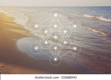 Metatron cube with the Adriatic sea coast at golden romantic sunset time