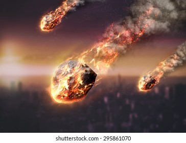 Meteor shower destroying city on earth. Elements of this image furnished by NASA