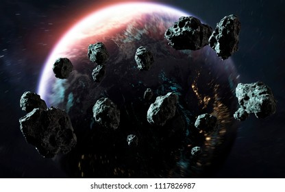 Meteor shower and Earth, last days of planet, awesome science fiction wallpaper. Elements of this image furnished by NASA