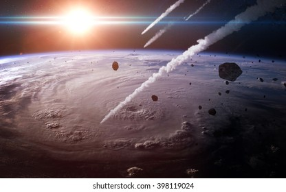 Meteor shower in the Earth's atmosphere. Elements of this image furnished by NASA