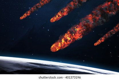 Meteor shower. Elements of this image furnished by NASA