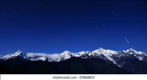 meteor shower landed in the snow rolling mountains