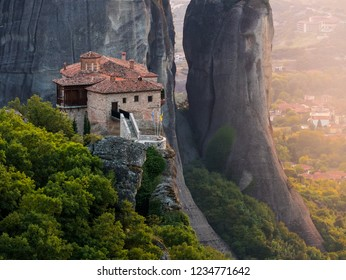 Meteora - famous rock formations and monasteries;  Breathtaking panoramic lanscape views in Kalambaka region, Greece