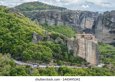 Meteora, Greece -  April 2019 : View of the stunningly located Roussanou monastery in Meteora valley