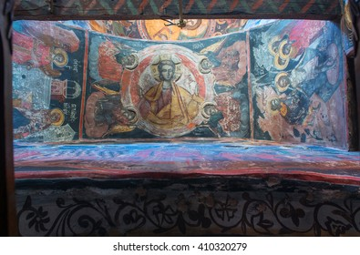METEORA, GREECE - JULY 05, 2015: Interiors of the Monastery of the Holy Trinity in Meteora - complex of Eastern Orthodox monasteries, Greece