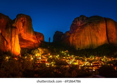Meteora. Greece. Kalambaka. Night city at the foot of the mountains. Meteora.