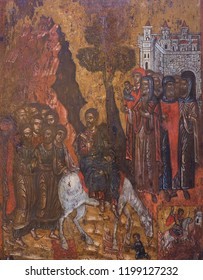 METEORA, GREECE - MARCH 17, 2018: The Entrance into Jerusalem and Saint George - ancient painting from Cemetery Church, 18-th cent.
