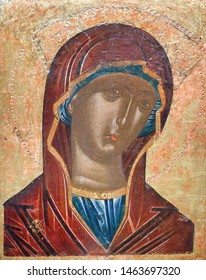 METEORA, GREECE - MARCH 17, 2018: Virgin Mary - ancient painting from Meteora Church. Middle of 16th century
