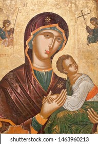 METEORA, GREECE - MARCH 17, 2018: Ancient painting - Virgin Mary with Child from Cemetery Church, second half of 16th century