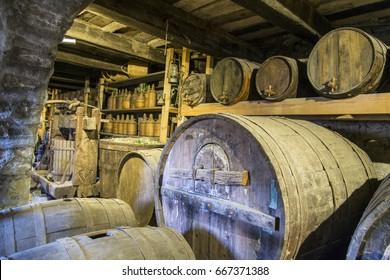 Meteora, Greece, - May 8, 2017 : Wine barrels