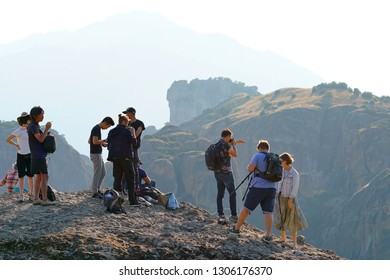Meteora, Greece, October 12 2018 Tourists from all over the world admire the sensational landscape