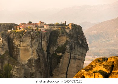 Meteora, Greece. Sunrise at the Byzantine Monasteries in the rocks at Meteora in Kalambaka
