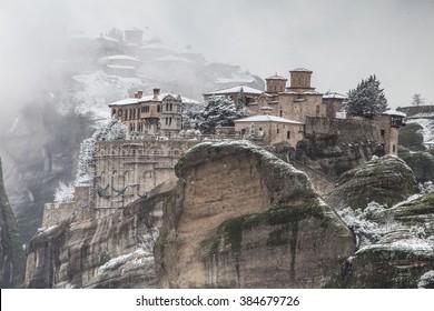Meteora, Greece in the winter