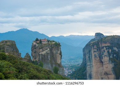 The Meteora Greek is a rock formation in central Greece hosting one of the largest and most precipitously built complexes of Eastern Orthodox monaste