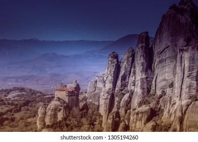 Meteora landscape in Greece. A beautiful touristic area.