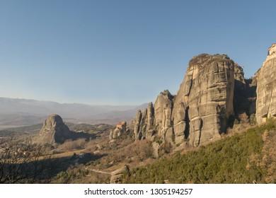 Meteora monasteries in Greece. A beautiful touristic destination.