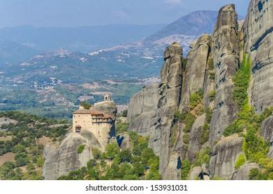 Meteora Monasteries, Greece. It belongs to the UNESCO World Heritage Site