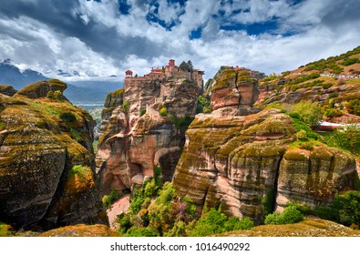 Meteora monasteries, Greece Kalambaka. UNESCO World Heritage site. Colorful spring landscape. Monastery of Varlaam (Rousanou, Ypapanti, St. Nicholas Anapavsa)