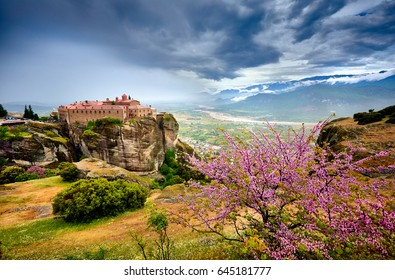 Meteora monasteries, Greece Kalambaka. UNESCO World Heritage site. Colorful spring landscape. Monastery of St. Stephen