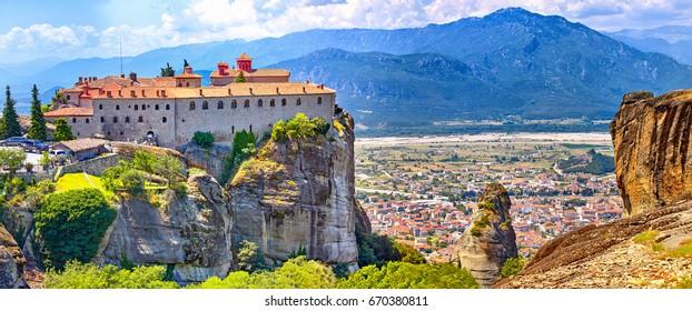 The Meteora monasteries, Greece Kalambaka. UNESCO World Heritage site. Colorful landscape. Monastery of St. Stephen Iera Moni Agiou Stefanou