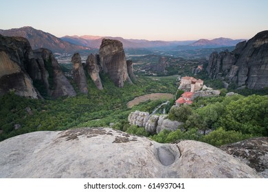 Meteora monasteries, the Holy Monastery of Roussanou at foreground, Greece