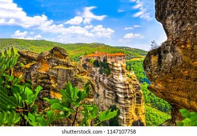 Meteora Monasteries mountain Greece landscape. Greece mountain meteora monasteries. Meteora monastery mountain landscape