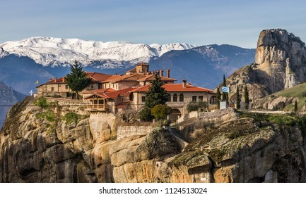 Meteora, the monastery of Great Meteoron (Megalo Meteoro), an UNESCO world heritage monument, inThessaly region, Trikala, Greece
