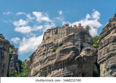 Meteora. Rock formation in central Greece hosting one of the largest and most precipitously built complexes of Eastern Orthodox monasteries