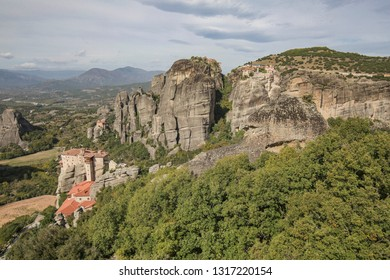 Meteora Rock Formation with Christian monasteries on top, a UNESCO World Heritage Site. Meteora translated as suspended in the air. The rocks offer great climbing. Meteora, Greece - October 17, 2018