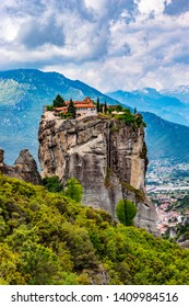 The Meteora  is a rock formation in  Greece hosting one of the largest and most precipitously built complexes of Eastern Orthodox monasteries.