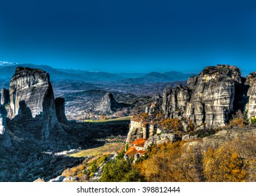Meteora rocks with really old monasteries near Kalabaka town in Greece