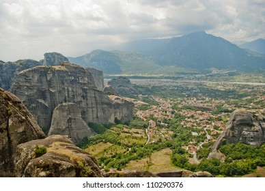 Meteora Valley from Greece, beautiful landscape with tall mountains and blue clouds