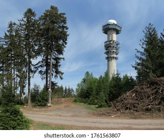 Meteoradar Brdy on the top of the hill Praha in the Protected Landscape Area Brdy in Central Bohemia in the Czech Republic - Shutterstock ID 1761563807