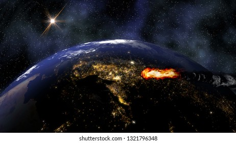 A meteorite approaches to earth planet