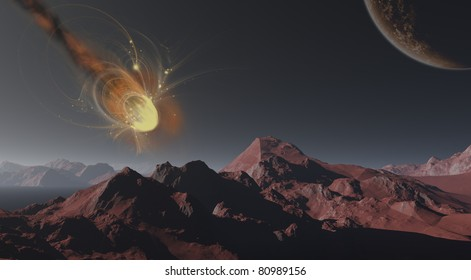 Meteorite exploding before impact with planet surface