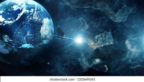 Meteorites in deep space planets. Asteroids in distant solar system. Science fiction concept, Elements of this image furnished by NASA